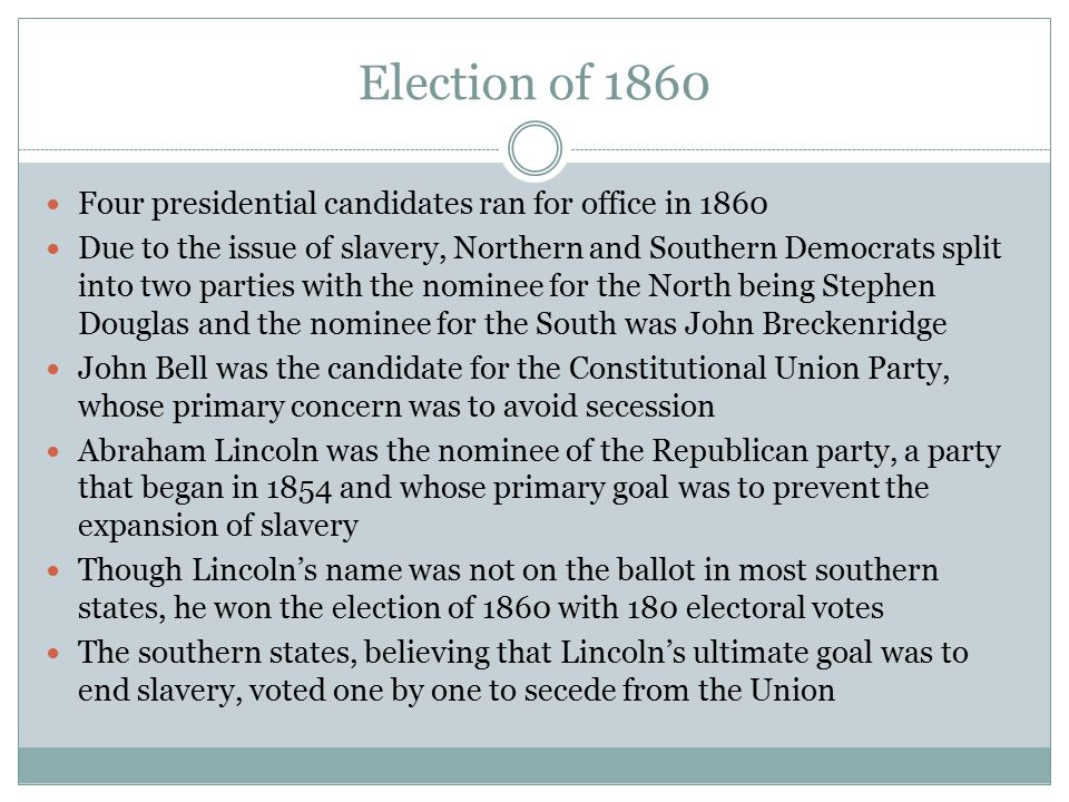 Election of 1860 Four presidential candidates ran for office in 1860