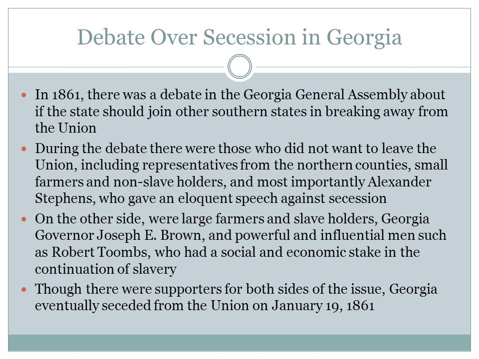 Debate Over Secession in Georgia