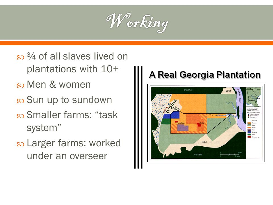 Working ¾ of all slaves lived on plantations with 10+ Men & women