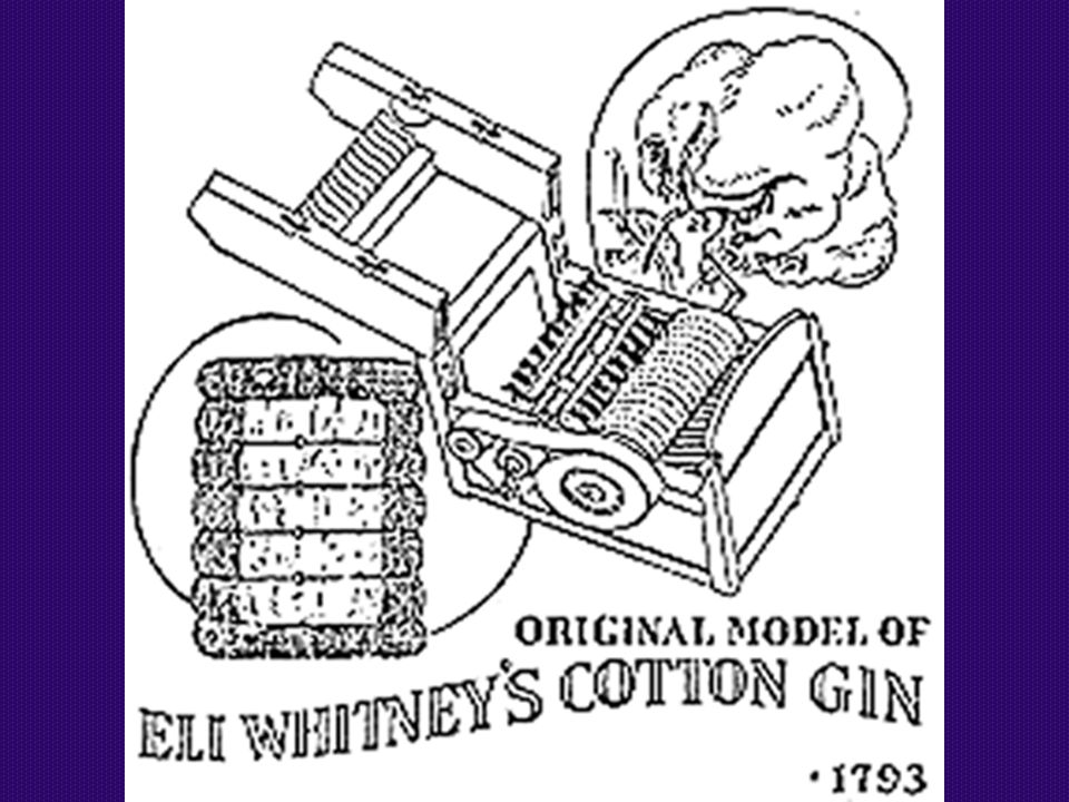 COTTON GIN A machine that separated the seeds from the raw fiber of the cotton. Invented by Eli Whitney.