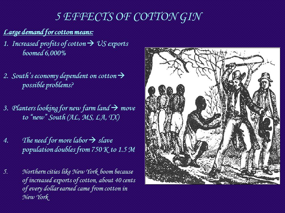 5 EFFECTS OF COTTON GIN Large demand for cotton means: