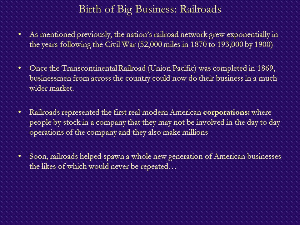 Birth of Big Business: Railroads