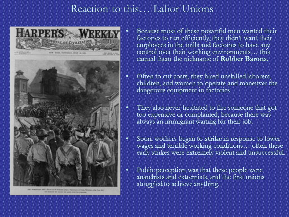 Reaction to this… Labor Unions