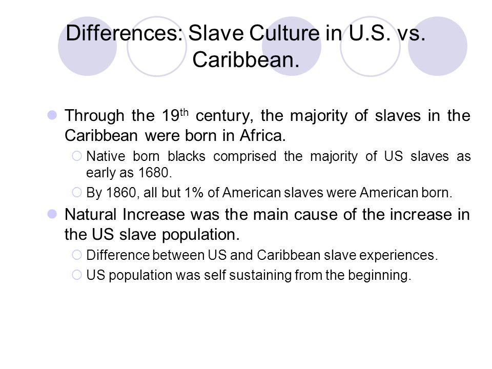 Differences: Slave Culture in U.S. vs. Caribbean.