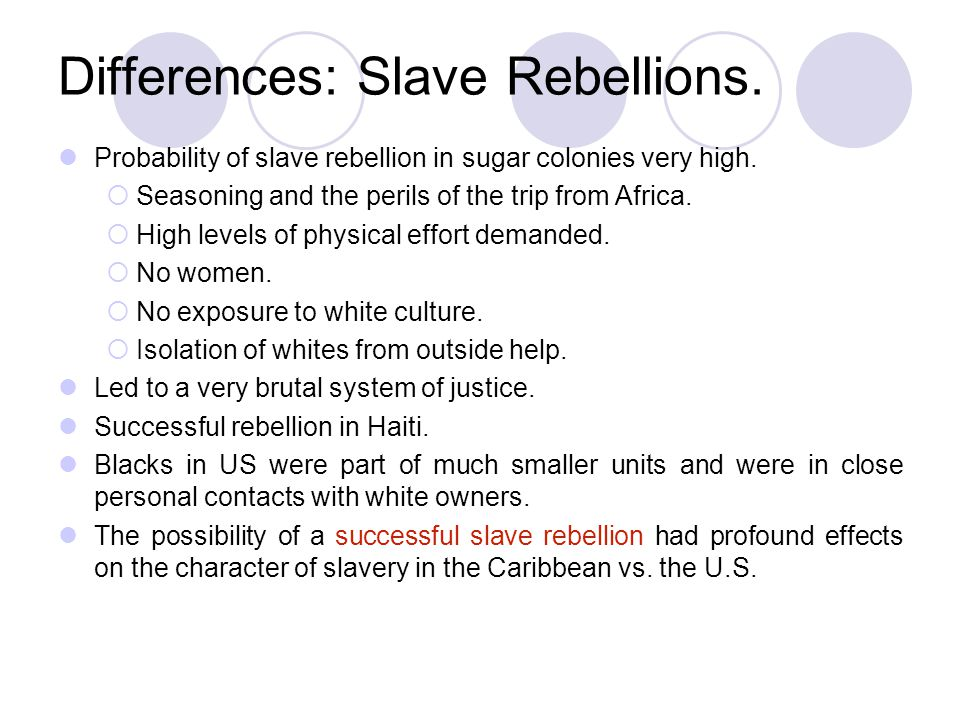 Differences: Slave Rebellions.