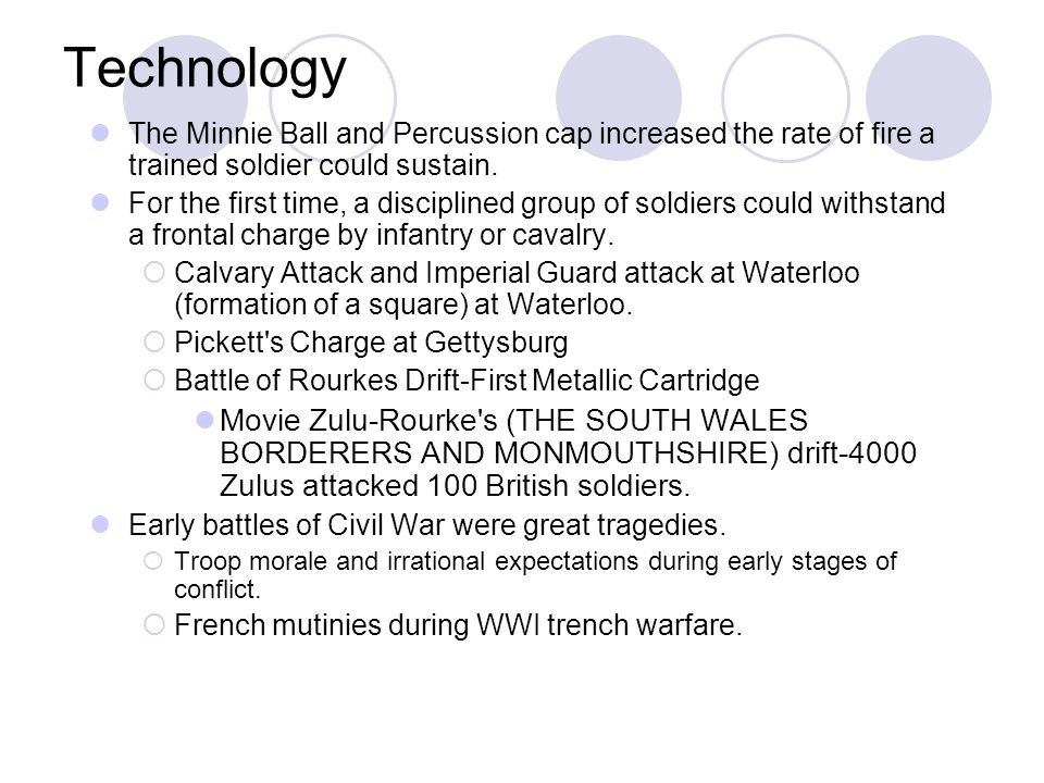Technology The Minnie Ball and Percussion cap increased the rate of fire a trained soldier could sustain.