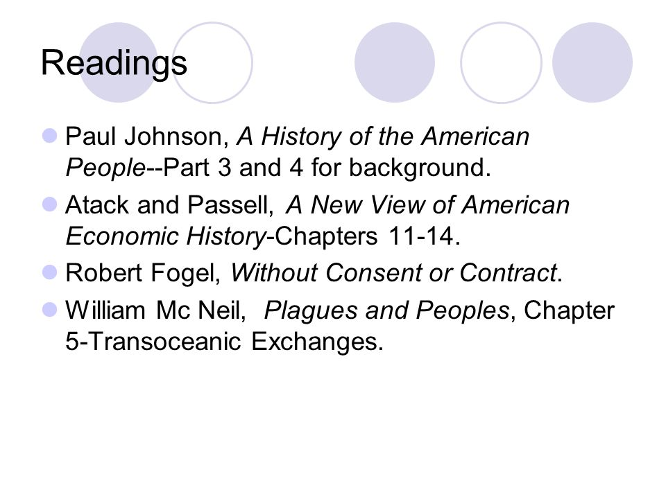 Readings Paul Johnson, A History of the American People--Part 3 and 4 for background.