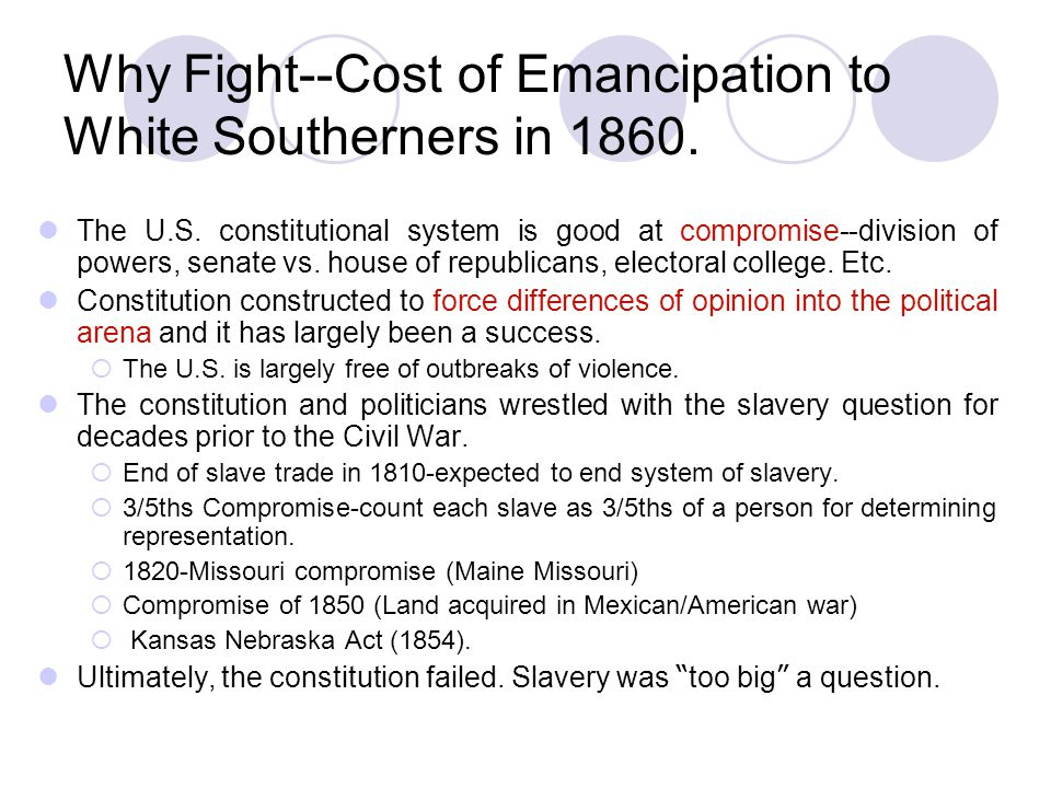 Why Fight--Cost of Emancipation to White Southerners in 1860.