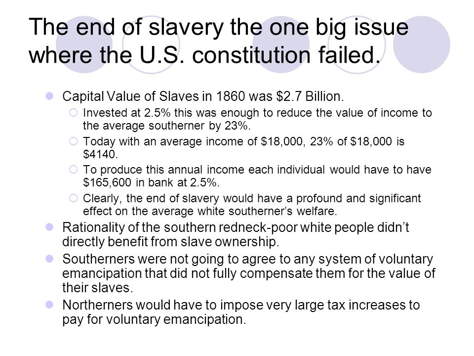 The end of slavery the one big issue where the U. S