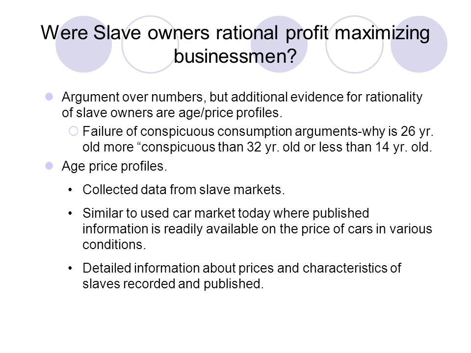 Were Slave owners rational profit maximizing businessmen
