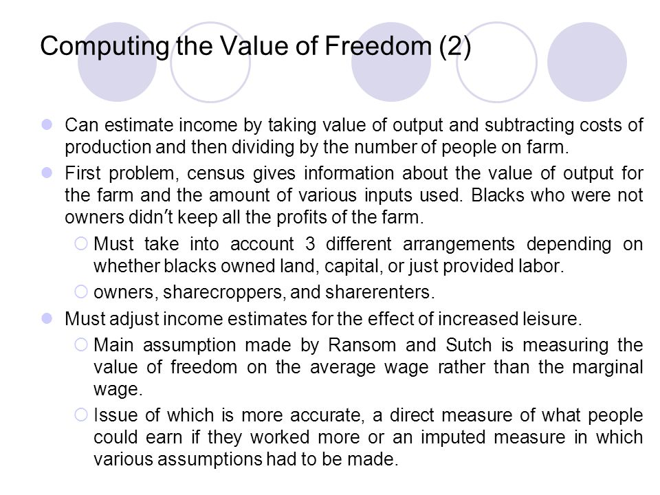 Computing the Value of Freedom (2)