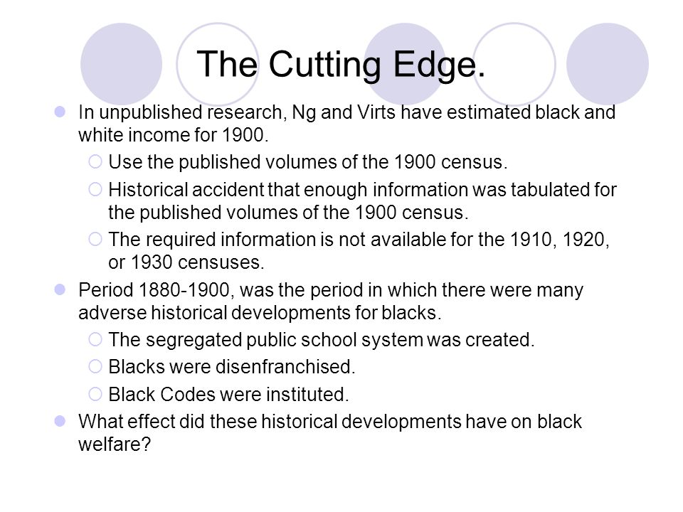 The Cutting Edge. In unpublished research, Ng and Virts have estimated black and white income for 1900.