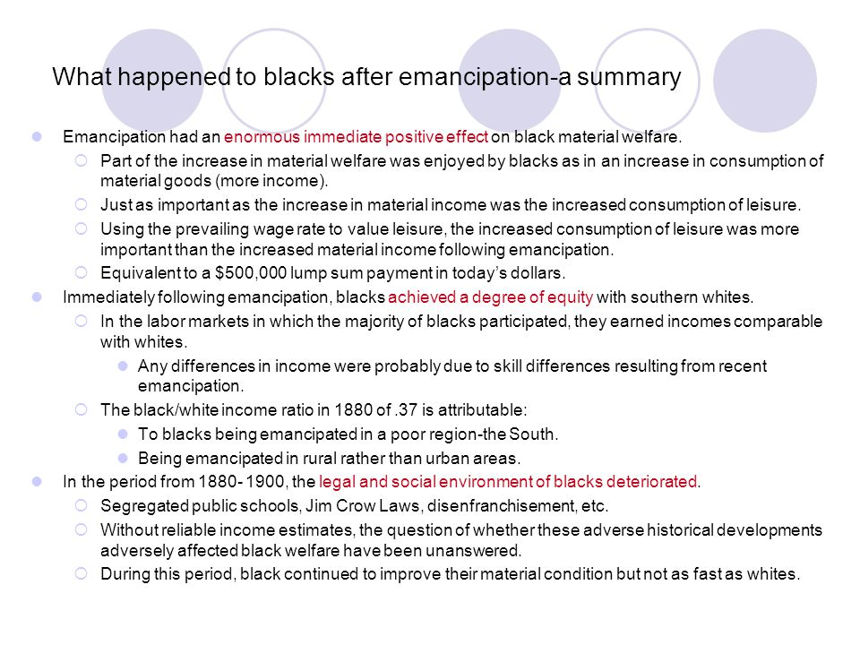 What happened to blacks after emancipation-a summary