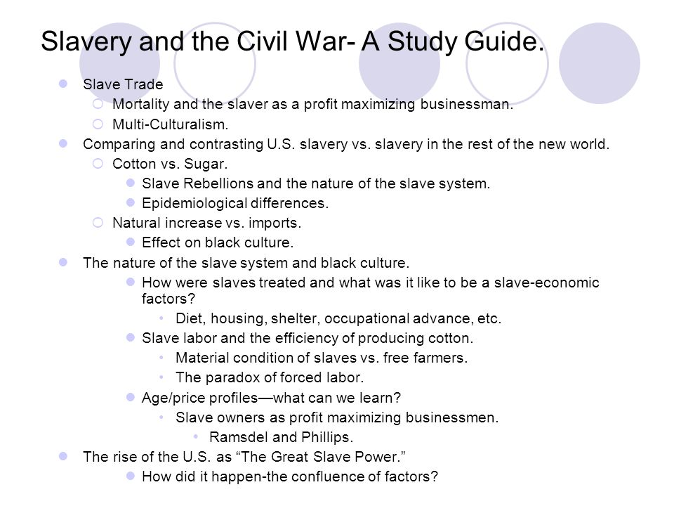 Slavery and the Civil War- A Study Guide.