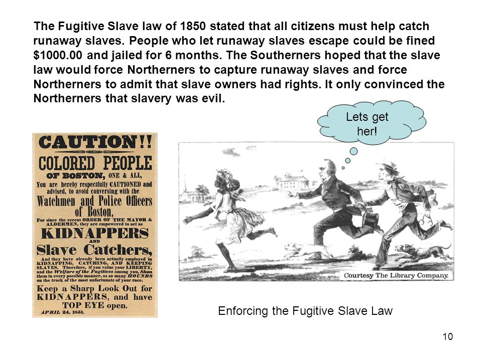 The Fugitive Slave law of 1850 stated that all citizens must help catch runaway slaves. People who let runaway slaves escape could be fined $1000.00 and jailed for 6 months. The Southerners hoped that the slave law would force Northerners to capture runaway slaves and force Northerners to admit that slave owners had rights. It only convinced the Northerners that slavery was evil.