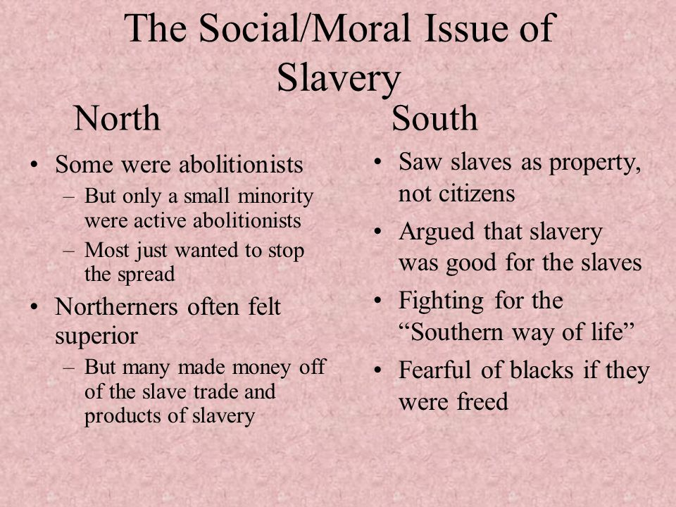 The Social/Moral Issue of Slavery