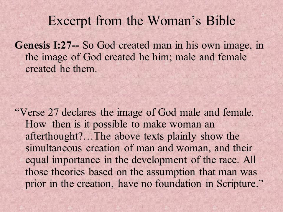 Excerpt from the Woman's Bible