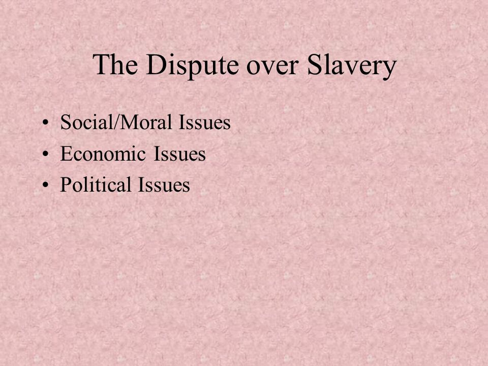 The Dispute over Slavery