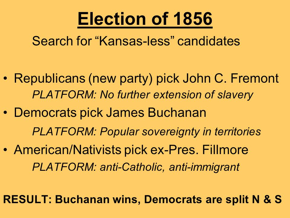 Election of 1856 Search for Kansas-less candidates
