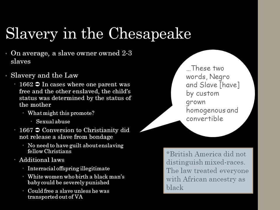 Slavery in the Chesapeake