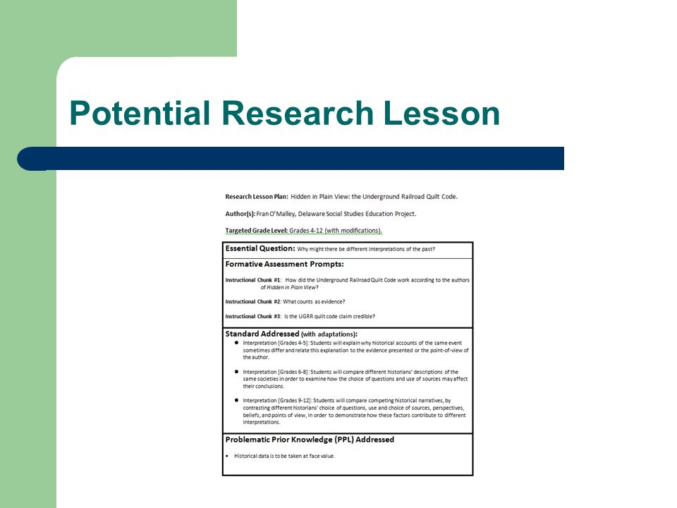 Potential Research Lesson