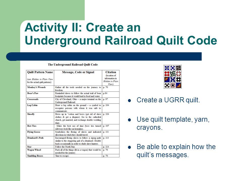 Activity II: Create an Underground Railroad Quilt Code