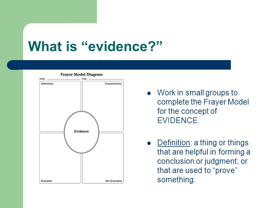 What is evidence Work in small groups to complete the Frayer Model for the concept of EVIDENCE.