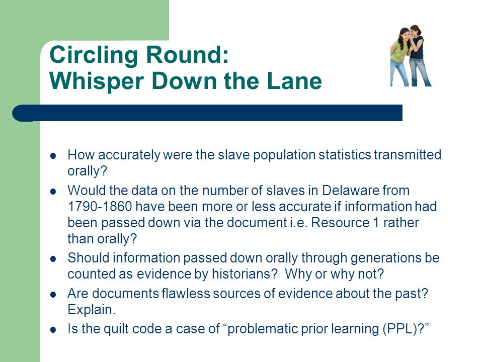 Circling Round: Whisper Down the Lane