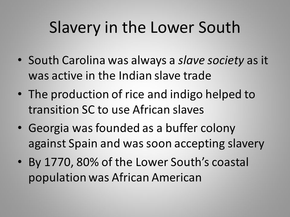 Slavery in the Lower South