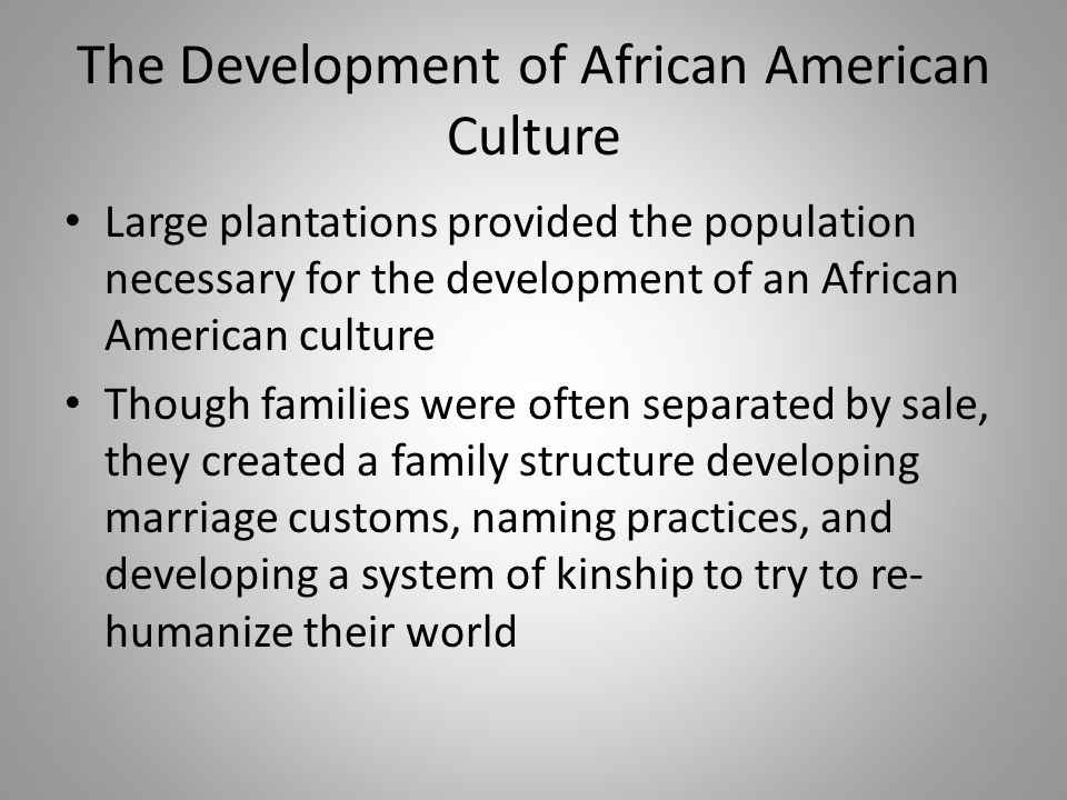 The Development of African American Culture