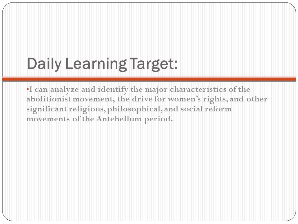 Daily Learning Target: