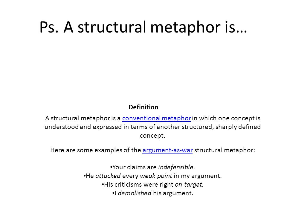 Ps. A structural metaphor is…