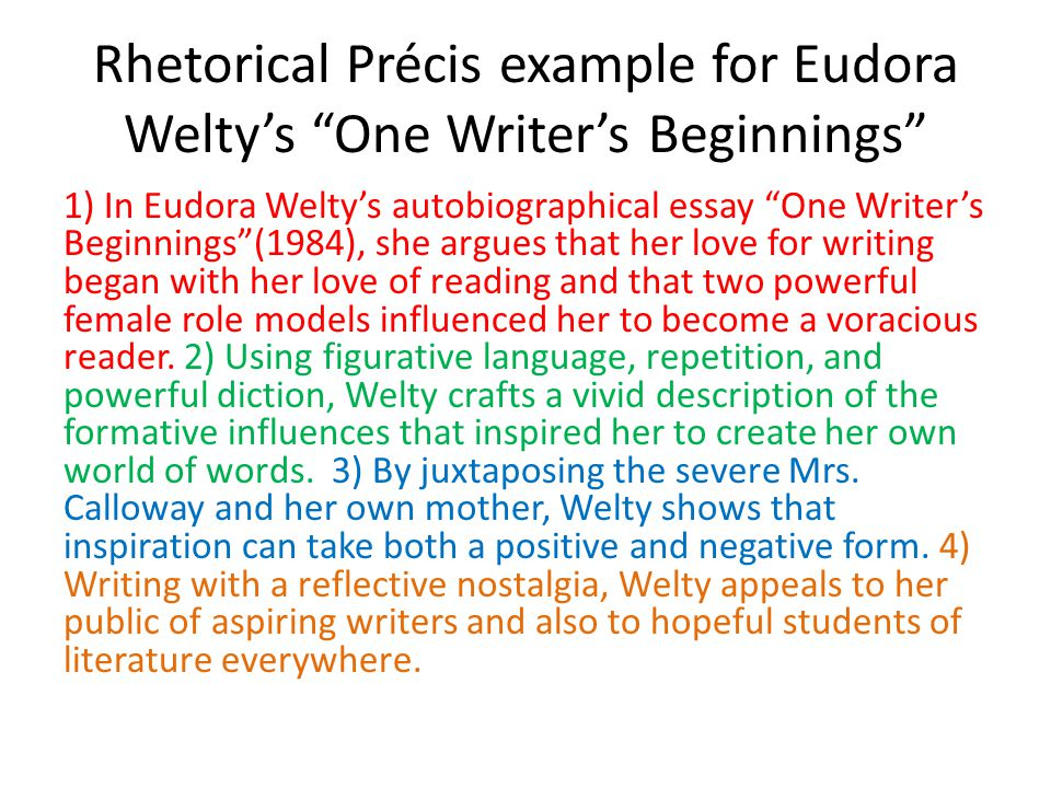 the apple watch what are potential repercussions of the following  rhetorical precis example for eudora welty s one writer s beginnings