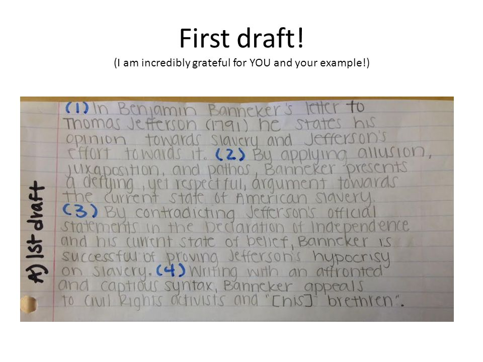 First draft! (I am incredibly grateful for YOU and your example!)