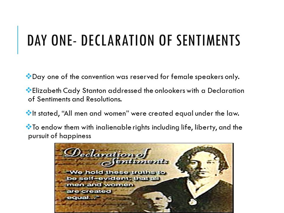 Day one- declaration of sentiments