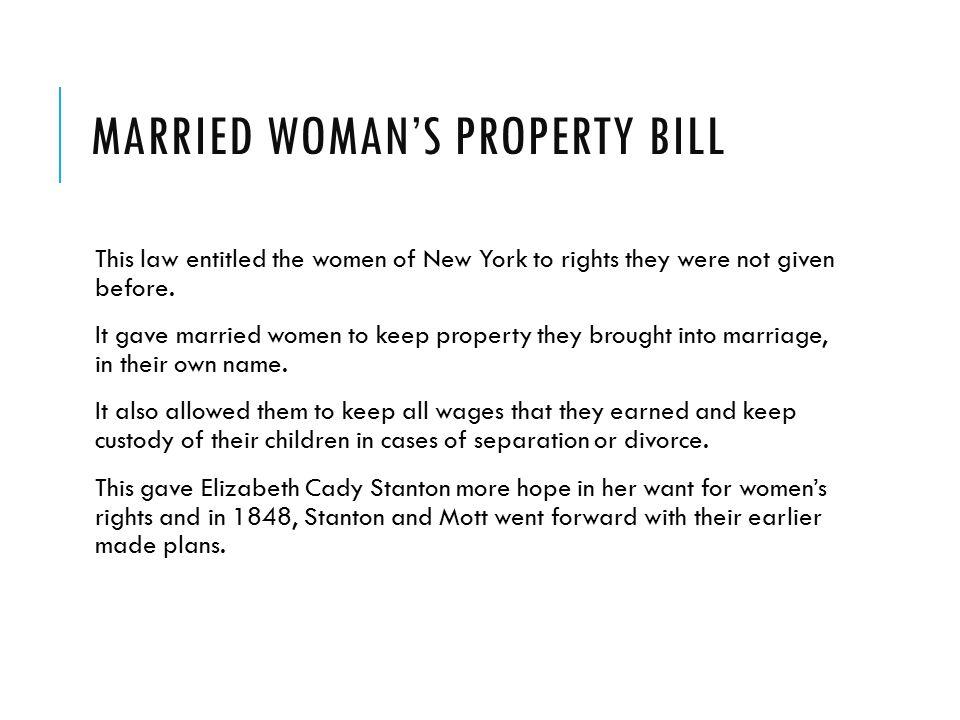 Married woman's property bill