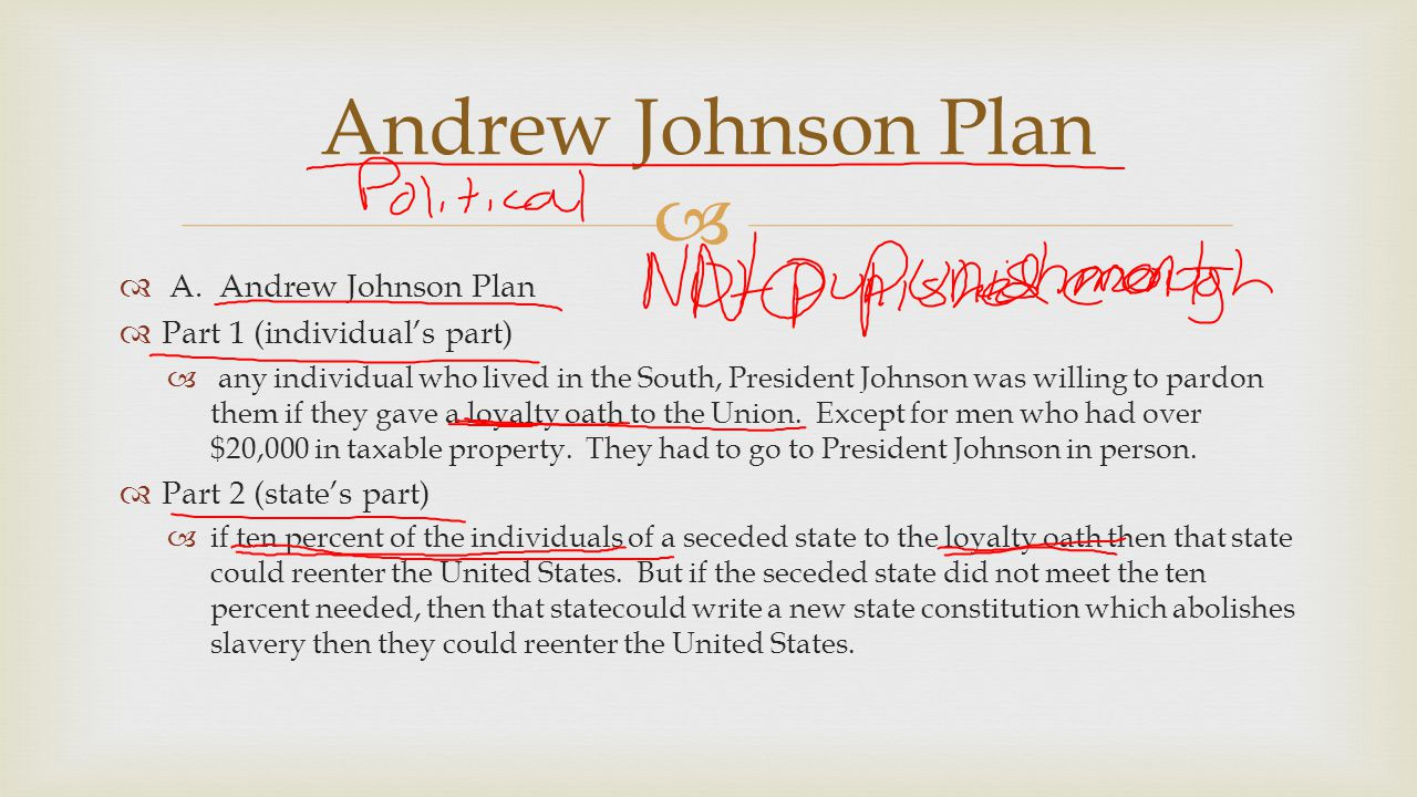 Andrew Johnson Plan A. Andrew Johnson Plan Part 1 (individual's part)
