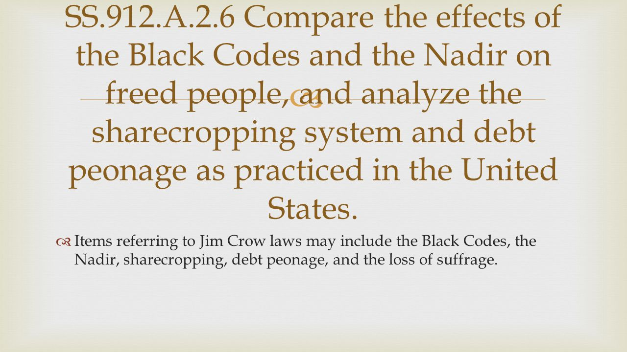 SS.912.A.2.6 Compare the effects of the Black Codes and the Nadir on freed people, and analyze the sharecropping system and debt peonage as practiced in the United States.