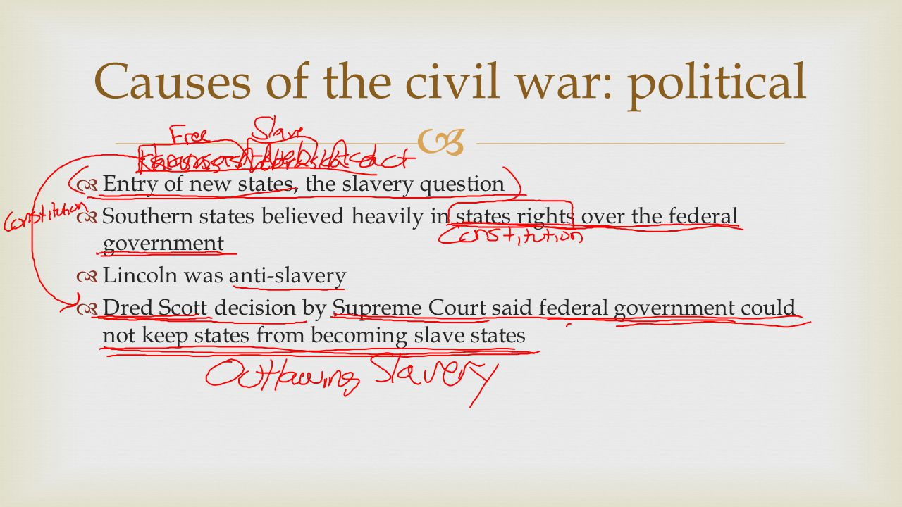 Causes of the civil war: political