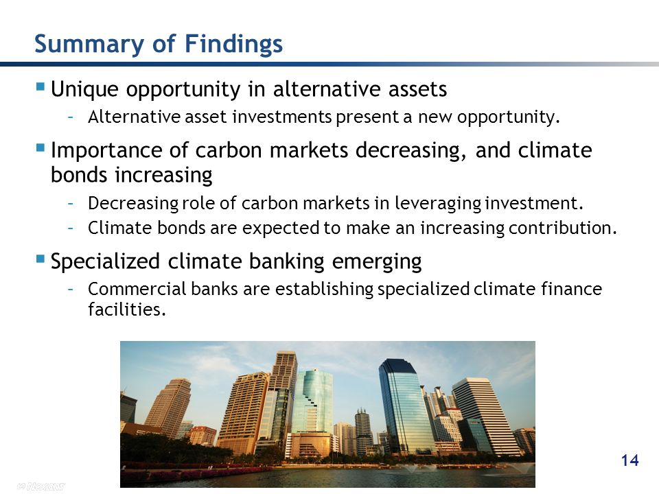 Summary of Findings Unique opportunity in alternative assets
