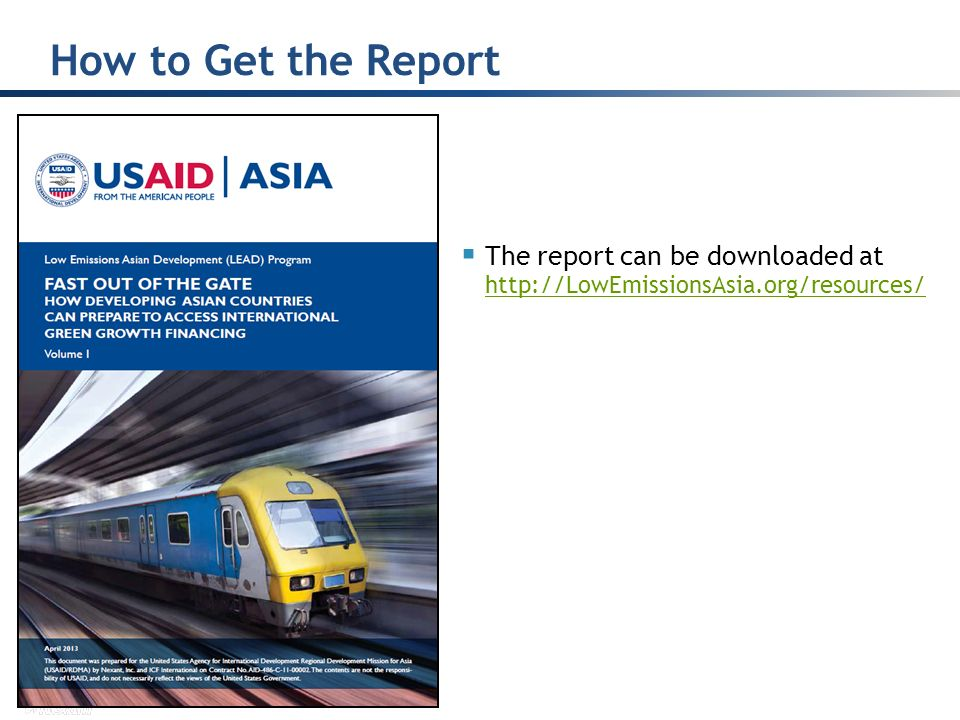 How to Get the Report The report can be downloaded at http://LowEmissionsAsia.org/resources/
