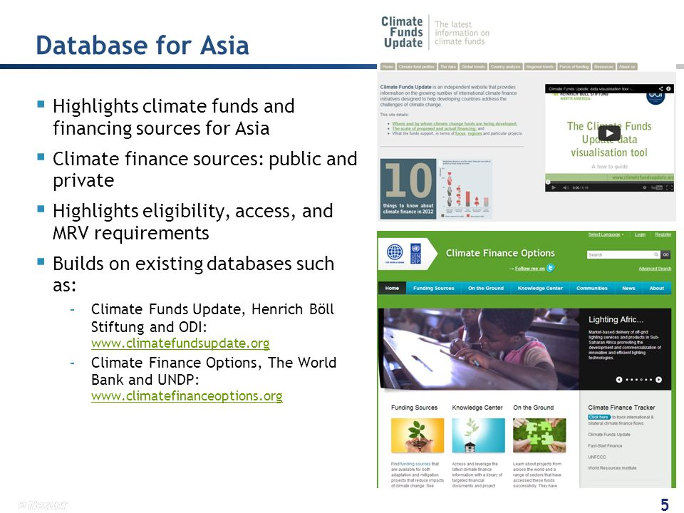 Database for Asia Highlights climate funds and financing sources for Asia. Climate finance sources: public and private.
