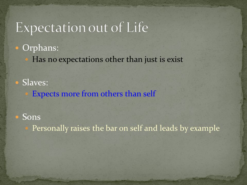 Expectation out of Life