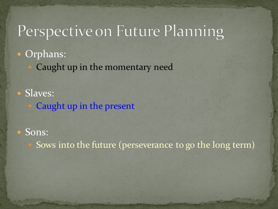 Perspective on Future Planning