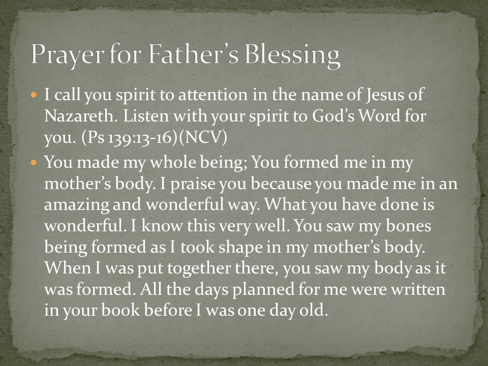 Prayer for Father's Blessing