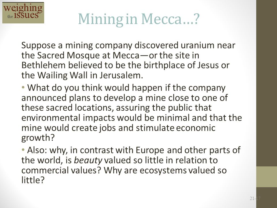 Mining in Mecca… weighing the issues