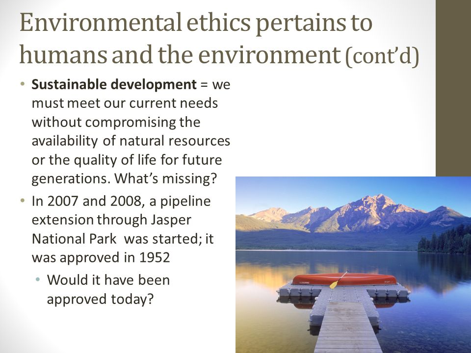 Environmental ethics pertains to humans and the environment (cont'd)