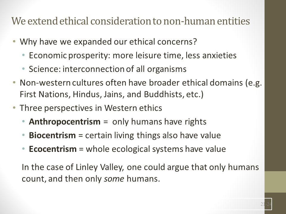 We extend ethical consideration to non-human entities