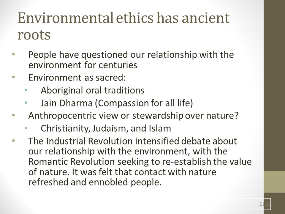 Environmental ethics has ancient roots