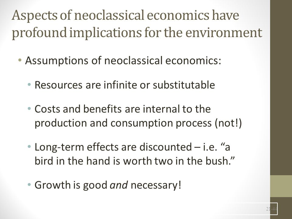 Aspects of neoclassical economics have profound implications for the environment